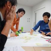 センタースタッフと一緒にグループワークをする学生事業部生